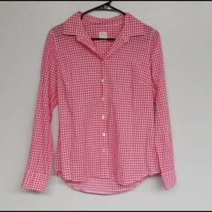 """J. Crew Pink White Gingham """"The Perfect Shirt"""""""